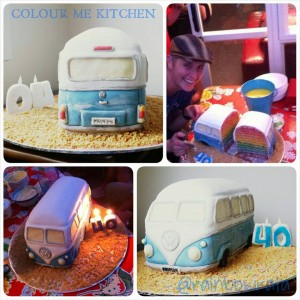 Photo Grid of Elizabeth Marshall's Rainbow Layered Kombi Birthday Cake