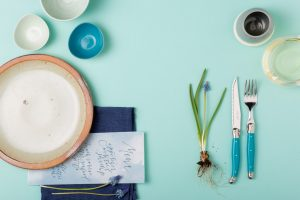Photo of Yvette Edwards artistic table setting for promo of The Creative Table for Wellington on a Plate with chef Elizabeth Marshall MasterChef New Zealand at the culinary helm