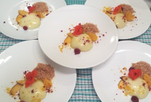 Picture of Elizabeth Marshall MasterChef New Zealand Catering Wellington Plating Panna Cotta Dish