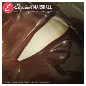 Picture of Elizabeth Marshall Wellington specialty cooking classes catering & cakes MasterChef New Zealand Chocolate Custard Pudding thickness shot