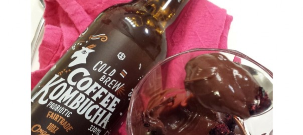 Picture of Elizabeth Marshall's (Wellington specialty cooking classes catering & cakes MasterChef New Zealand) Chocolate Custard Pudding with goodbuzz coffee kombucha