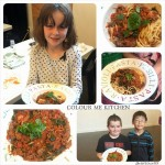 Picture collage from Elizabeth Marshall's Kids' mince cooking class