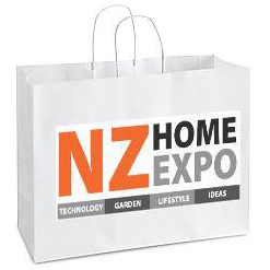 NZ Home Expo Logo on a white paper bag with handles