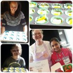 A collage of pictures from Elizabeth Marshall's kids muffin baking class