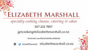 Elizabeth Marshall MasterChef NZ Wellington Specialty Catering Cakes and Cooking Classes Contact Details