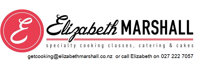 Pic of Elizabeth Marshall - specialty cooking classes catering and cakes Wellington logo with contact details - MasterChef New Zealand
