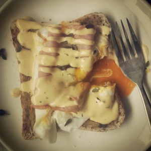 Picture of Elizabeth Marshall's Hollandaise Sauce with egg and ham, toast and thyme