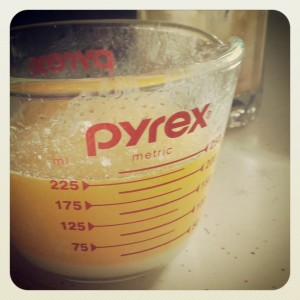 Picture of Melted Butter in Measuring Jug - Elizabeth Marshall's Easy Hollandaise Sauce