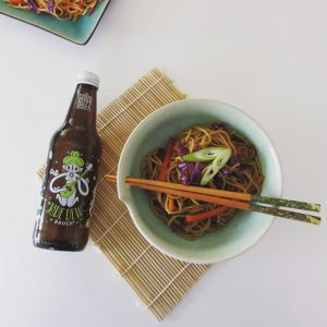Photo of Elizabeth Marshall MasterChef New Zealand Specialty Cooking Classes Catering and Cakes Wellington Lo mein with Jade Dew Goodbuzz booch