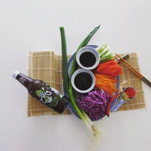 Photot of Elizabeth Marshall MasterChef New Zealand Specialty Cooking Classes Catering and Cakes Wellington ingredients for Lo mein with Jade Dew Goodbuzz booch