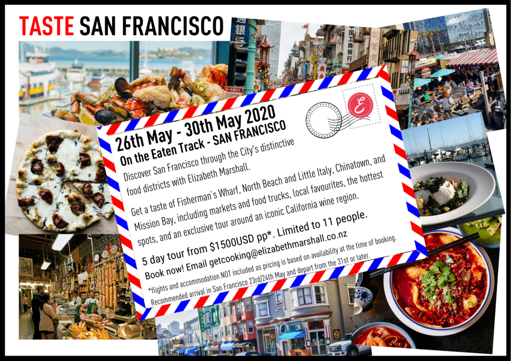 postcard style invite to Elizabeth Marshall's On the Eaten Track Food to in San Francisco